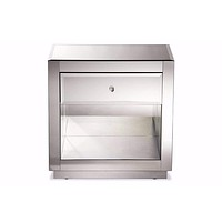 Hollywood Glamour Style 1-drawer and 1-shelf Nightstand and Bedside Table By Baxton Studio