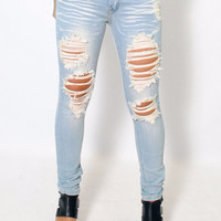 (amb) Skinny destroyed light wash 5 pockets jeans