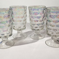 Set of 4 Iridescent Footed Glasses, 4 Vintage Colonial Iridescent 12 oz Glasses by Federal Glass, 1960s iridescent glasses, Retro Barware