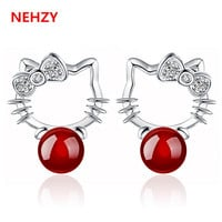 New Lady fashion temperament princess silver stud earrings black delicate natural red agate jewelry cute little cat Hello Kitty