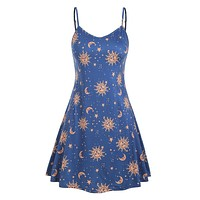 Novel Sun Moon Print Large Size Ladies Sling v Neck Dress Summer Loose Casual Cool Sleeveless Backless Mini Dresses Plus Size