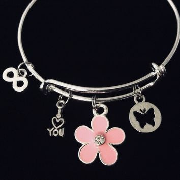 Child Size I Love You Forever Adjustable Charm Bracelet Pretty in Pink Flower Butterfly Infinity Symbol Children's Jewelry Expandable Silver Bangle Young Girl's Tween Jewelry Gift Kids Size