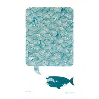 Whale Song Original Limited Edition Screenprint in navy aqua