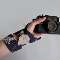 Unisex camera strap organic cotton camera strap neck strap Koi purple