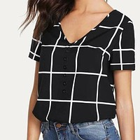 Button V neck Grid Shirt Top Tee