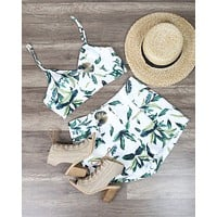 Final Sale - Leaf Print Two Piece Set with Pockets