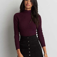 AEO Fitted Mock Neck Sweater, Burgundy