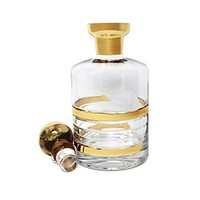 Glazze Crystal APP-156-GL Appalachia Decanter Whiskey Bottle, Gold