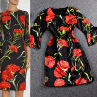 Red Floral Trumpet Sleeves Mini Dress