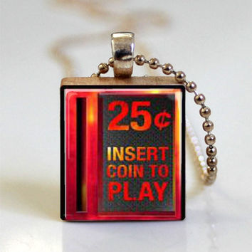 Vintage Video Game Jewelry Insert Coin Tile Pendant