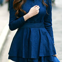 Blue Collar Long Sleeve Spliced Lace-Up Dress
