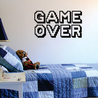 Game Over Gamer Quote Decal Sticker Wall Vinyl Art Decor