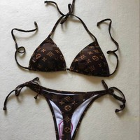 LV Louis Vuitton Summer Fashion Off Shoulder Strapless Two Piece Bikini Swimsuit
