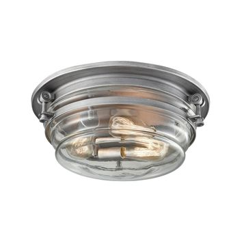Riley 3-Light Flush Mount in Weathered Zinc with Clear Blown Glass