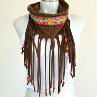 Festival Fringe Scarf | Brown One of a Kind | Good Vibes Collection