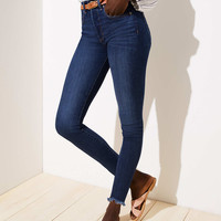 Modern High Rise Chewed Hem Skinny Jeans in Staple Dark Indigo Wash | LOFT