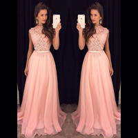 A-line Lace Appliqued Bodice Chiffon Skirt Pink Prom Dress APD1640