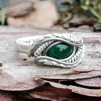 Size 7 Ring Malachite Wrapped 925 Sterling Silver Titanium Accents