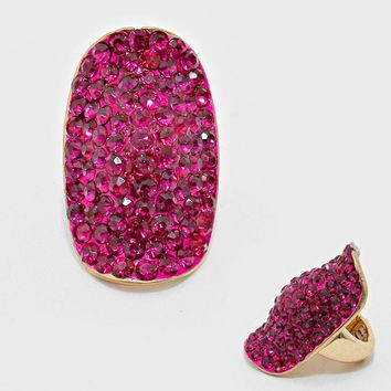 """1.50"""" crystal pave stretch cocktail ring"""