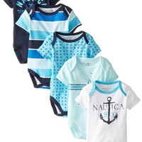 Nautica Baby-Boys Newborn 5 Pack Anchor Blue Bodysuit