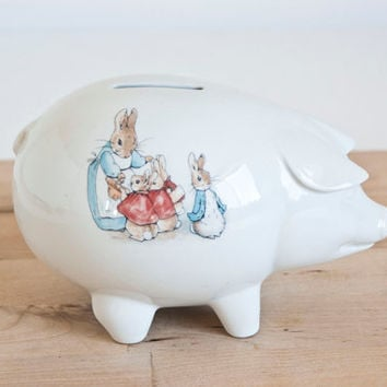 Vintage Wedgwood Peter Rabbit Beatrix Potter Piggy Bank, Made in England, Baby's Room Decor