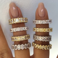Sterling silver yellow and white zirconia eternity bands | Gemma Azzurro Jewelry