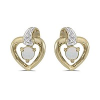 14K Yellow Gold Round Opal and Diamond Heart Shaped Earrings