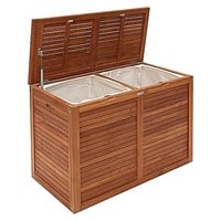 Teak Double Laundry Hamper by Hudson Furniture