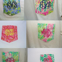Long Sleeve Lilly Pulitzer Monogrammed Pocket Tee