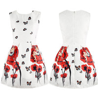 Vintage Butterfly Printing A-line Dress