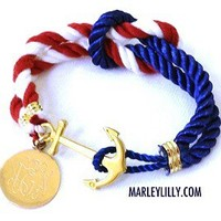 Monogrammed Nautical USA Bracelet | Anchor Gifts | Marley Lilly