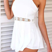 White Spaghetti Strap Pleated Romper with Lace Accent
