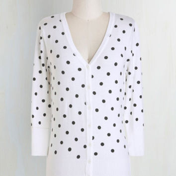 Rockabilly, Vintage Inspired, Scholastic Mid-length 3 Charter School Cardigan in Dots