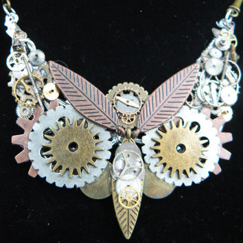 steampunk owl necklace, statement necklace, steampunk jewelry ,owl necklace