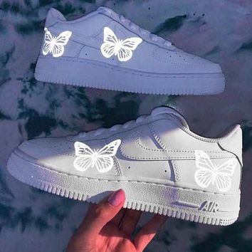 Nike Air Force 1 Low Silver butterfly Reflective casual Luminous cushioning shoes White