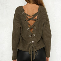 own the night lace-up back knit sweater - more colors