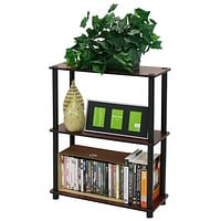 Dark Cherry & Black 3-Tier Shelves Display Bookcase