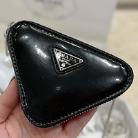 High quality Prada solid color patent leather triangle small wallet key case Bag Black