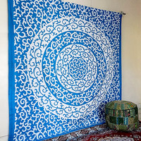 Turquoise Indian Floral Mandala Hippie Bohemian Wall Hanging Tapestries, Indian Boho Bedding Throw Bedspread, Ethnic Home Decor