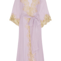 Rosamosario - Camelot Mon Amour lace-trimmed silk-georgette robe