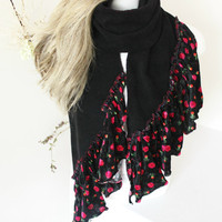 Black scarf, Floral velvet scarf, Fleece and velvet scarf, Pink flowered shawl, Ethnic fabric, Unique scarf, Boho Scarf, Women's Fashion