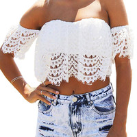 White Cropped Off The Shoulder Top In Lace