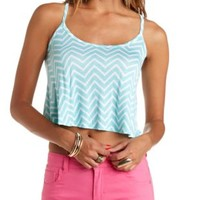 Printed Racerback Swing Crop Top - Light Turquoise Combo