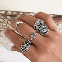 Gift Shiny Jewelry Stylish New Arrival Accessory Vintage Gemstone Hollow Out Totem Ring [11716960207]
