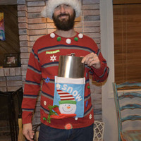 Giant Flask Holder, MEN'S Large, Ugly Christmas Sweater,  party sweater, alcohol, novelty, one of a kind, party pocket