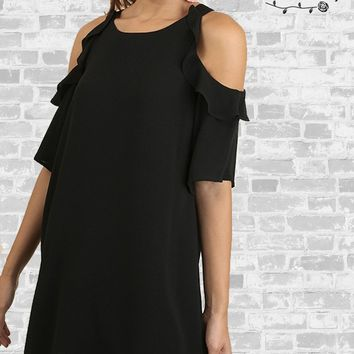 Ruffle Cold Shoulder Dress - Black - Small & Medium only