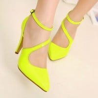 New Strappy Women's Career Pointed Toe Ankle Strap Sandals High Heels Pump Shoes
