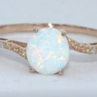 14Kt Rose Gold Plated Simulated Opal & Diamond Round Ring AVAILABLE IN ANY SIZE 4 TO SIZE 10 1/2 MESSAGE US THE EXACT SIZE YOU WANT AFTER PURCHASE