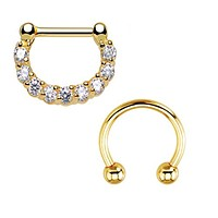 Septum Clicker and Horseshoe Circular Barbell 14 Gauge Body Jewelry 2 Pieces