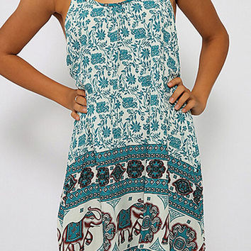 Green Floral And Elephant Printed Mini Dress